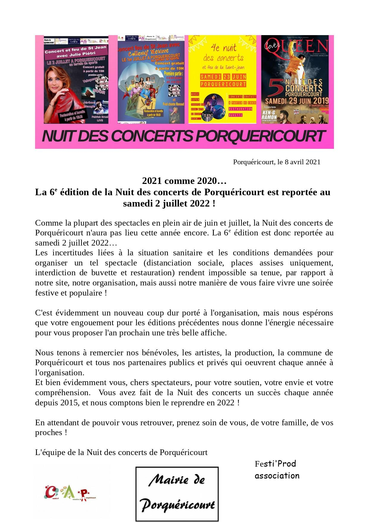 Communique report nuit des concerts